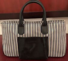 LANCEL MED  SHOPPER TOTE BAG Navy Stripe LEATHER/CANVAS Good Condition