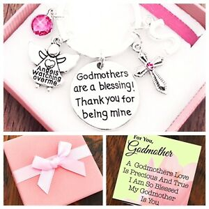 GODMOTHER GIFT, GODMOTHERS ARE A BLESSING THANK YOU BEING MINE, PINK/BLUE BOXED