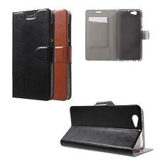 HTC One A9s Etui Leder Case Schutz Handy Hülle Wallet Flip Cover Schwarz Braun
