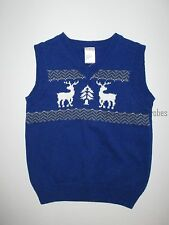 Gymboree Joyful Holiday Blue Reindeer Sweater Vest Holiday Boys 18-24 months NWT