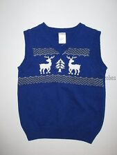 Gymboree Joyful Holiday Blue Reindeer Sweater Vest Holiday Boys 2T NEW NWT