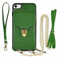 iPhone 8 iPhone 7 Case Wallet Card Leather Handbag Crossbody Purse Dark Green