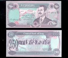 250 Dinars Saddam Hussein Iraq Currency Uncirculated