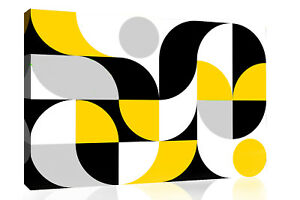 Abstract Geometric Pattern Mustard Black Grey CANVAS WALL ART Picture Print