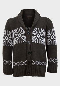 BOYS KIDS FAIR ISLE cardigan grey charcoal knitted warm winter jumper sweater