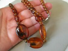 Plastic Beads Necklace 1940s 1950s Uk Cute Vintage Barrel Clasp Faux Amber Early