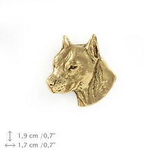 Amstaff Cropped (head), gold covered pin, high qauality Art Dog AU