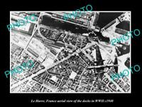 OLD LARGE HISTORIC MILITARY PHOTO LA HAVRE FRANCE AERIAL VIEW BOMBING c1940 1
