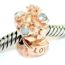 Charm Fits Euro Bracelets 30 Day Return Flowers Diamond 9ct Solid Rose Gold Bead