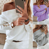 Women's Off Shoulder Sweatshirt Loose Long Sleeves Tops Blouses Winter Pullovers