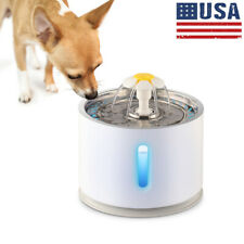 New listing Us 81oz Stainless Steel Pet Fountain Led Automatic Dog Cat Water Drinking Bowl