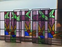 12 Antique Art Deco Stained Glass Reclaimed Window Panels