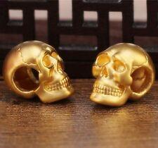 1x Pure 24K Yellow Gold Pendant Craved 3D Bless Men Women Skull Shape Pendant