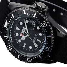 Luxury Shark Army AVENGER Mens Black Nylon Sport Quartz Military Wrist Watch New