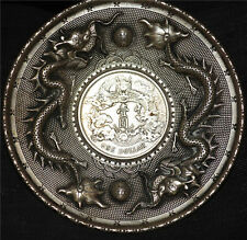 TIBETAN SILVER OLD DRAGON VINTAGE PLATE COIN ANTIQUE CHINESE COLLECTABLE