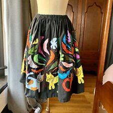 Vintage 1960's Cat Kitten Boho Hand Made Circle Skirt S/M