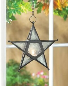 Glass Star Lantern, Home Decor,  2 Colors, Clear, Red