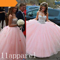 New Beaded Quinceanera Dress Ball Gown Pink Prom Party Formal Pageant Size 2-16