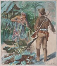 Dessin original de Gaston SMIT illustration livre de 1931 jungle indien Niezab
