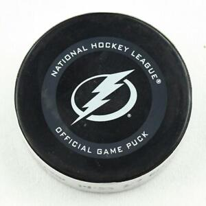 2019-20 Brad Marchand Boston Bruins Game-Used Goal-Scored Puck -Lightning Logo!