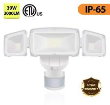 PIR 3-Head LED Motion Sensor Flood Light Outdoor Garden Security adjustable Lamp