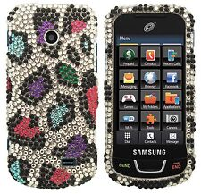 Straight Talk Samsung T528g Diamond BLING Hard Case Phone Cover Rainbow Leopard