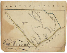 South Carolina - Small, Early 19th-Century, Hand-Drawn Map