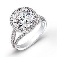 2.79 Ct. Halo Round Cut Pave Diamond Split Shank 14K Engagement Ring H,VS1 EGL