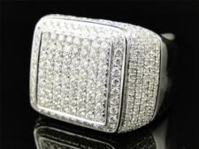 White Gold Mens Genuine Round Cut Diamond Pave Set Pinky Band Ring 3.85 Ct