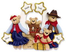 Personalized COWBOY FAMILY of 4 Christmas ornament polymer clay by Deb & Co.