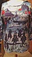 "Bit & Bridle Western""Cowgirl Trail"" knit top- graphics/sequins Sz M"
