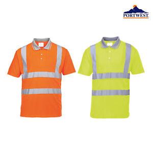 Portwest Hi-Vis Lightweight Polo Shirt RT22-Short Sleeve Workwear Safety T-shirt