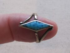 Vintage Crushed Turquoise Ring Sterling Diamond-shape Top Boho Stack 6