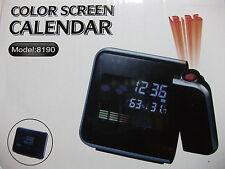 Digital LCD Screen Weatherstation Calendar Alarm Clock Time Projector Watch