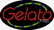 """New """"Gelato"""" 27x15 Oval Solid/Animated Led Sign w/Custom Options 24388"""