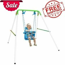 Indoor/Outdoor My First Toddler Swing Foldable Frame w/ Safety Harness NEW