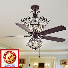 Crystal Chandelier Ceiling Fan Bronze Fin 4 Light 52in / 5 Wood Blades / 3 Speed