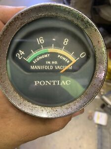 Vintage 1960's Pontiac OEM Console Mounted Manifold Vacuum Gauge 9770337