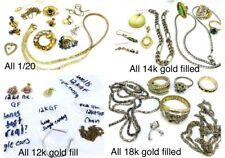 VTG GOLD FILLED Scrap repair craft Lot 1/20, 12k  14k 18k GF Jewelry 110 grams