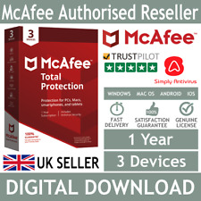 McAfee Total Protection 2018 / 2019 3 Devices 1 Year *5 Minute Delivery by Email