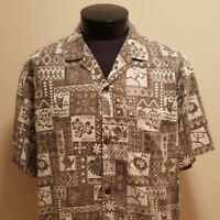 Royal Creations Hawaiian Shirt Mens Large EUC Brown Tribal INV1056