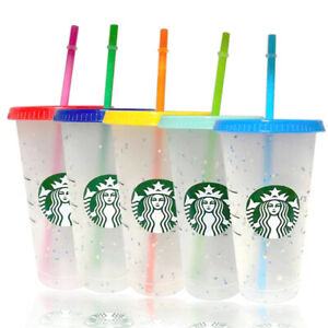 Starbucks Logo Reusable Plastic Cold Cup with Lid Straw, 24 fl oz -- UK HOT SALE