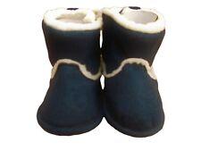 Baby unisex navy warm winter fur boots iin size 6-9 months soft sole