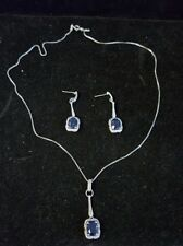 and earring set (A:549) sterling silver synthetic sapphire necklace