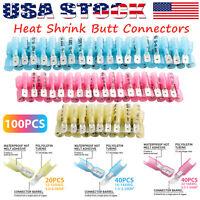 100PCS Electrical Heat Shrink Male & Female Spade Wire Connectors Terminals Set