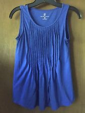 New York & Co Pleated Front Sleeveless Pullover Top - XS - Blue