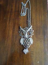 "Owl Necklace Extra Large Pendant  With Rhinestone Eyes & Reticulated Feet 4"""