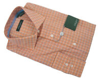 NEW Bobby Jones Collection Fine Cotton Shirt!  M   *Coral Orange Plaid*