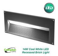14W LED Recessed Wall Brick Light Charcoal Grey 240V Cool White IP54