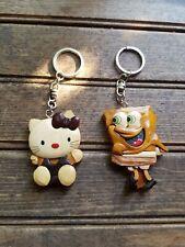 Choose One Wood Key chain tag rings / Spongebob Or Hello Kitty